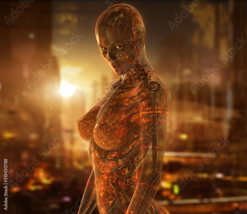 Cyborg woman character with transparent skin Canvas Print