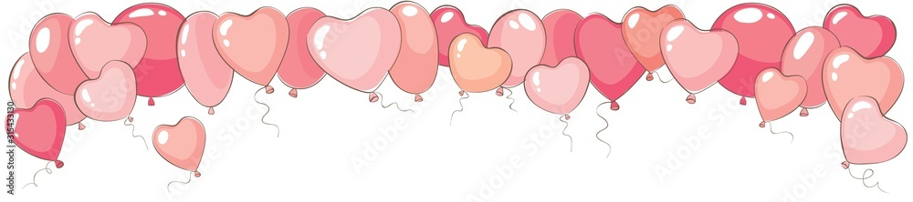 Fototapeta Valentine's day narrow background. Vector banner for holidays with heart shaped balloons