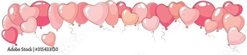 Obraz Valentine's day narrow background. Vector banner for holidays with heart shaped balloons - fototapety do salonu