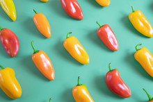Colorful Peppers On Mint Background