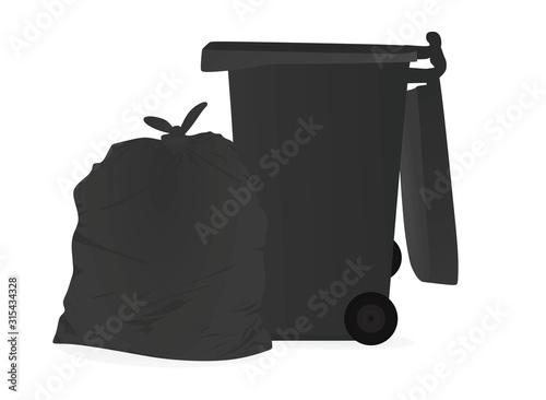 Foto Grey garbage bag and bin. vector illustration