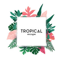 Hand-drawn Green Summer Tropical Background With Palm Leaves And Exotic Plants. Vector Floral Background.