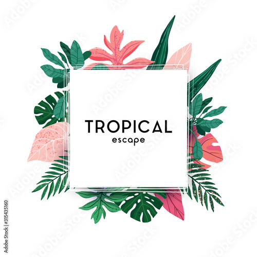 Obraz Hand-drawn green summer tropical background with palm leaves and exotic plants. Vector floral background. - fototapety do salonu