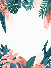 Bright And Trendy Summer Hawaiian Banner, Party Flyer Or Invitation Design With Tropical Plants, Palm Leaves And Space For Text. Vector Illustration.