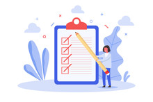 Concept Of Tiny Woman Holding Big Pencil Standing Nearby Clipboard Paper With Successful Marked Checklist, Flat Vector Illustration For Web, Landing Page, Ui, Banner, Editorial, Mobile App And Flyer.
