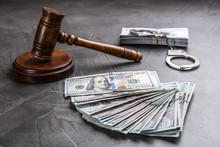 Dollar Bills, Handcuffs And Ga...