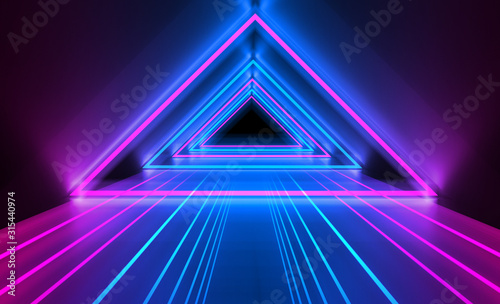 Obraz Empty dark abstract background. Background of empty show scene. Glow of neon lights and neon figures on an empty concert stage. Reflection of light on the pavement. - fototapety do salonu