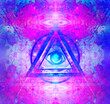 canvas print picture - All seeing eye inside triangle pyramid.