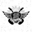 Rock Star Plectrum Guitar Wings Vector illustration