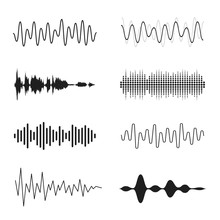 Set Of Sound Waves. Analog And...