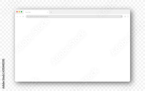 Obraz Empty browser window on transparent background. Empty web page mockup with toolbar - fototapety do salonu