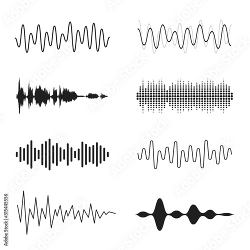 Fototapeta Set of sound waves. Analog and digital line waveforms. Musical sound waves, equalizer and recording concept. Electronic sound signal, voice recording obraz