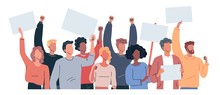 Protest People Holding Posters Flat Vector Illustration