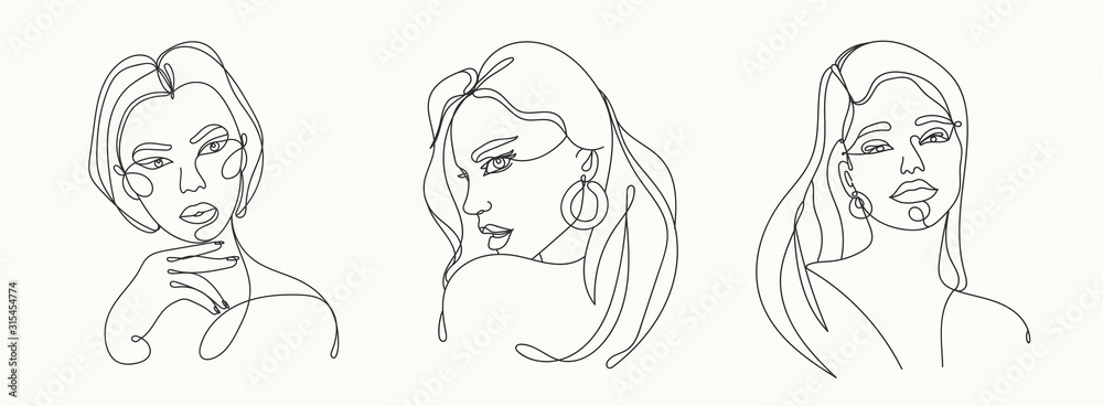Fototapeta Set of three Modern abstract faces. Contemporary outline female silhouettes. Hand drawn outline trendy vector illustrations. Continuous line, minimalistic concept