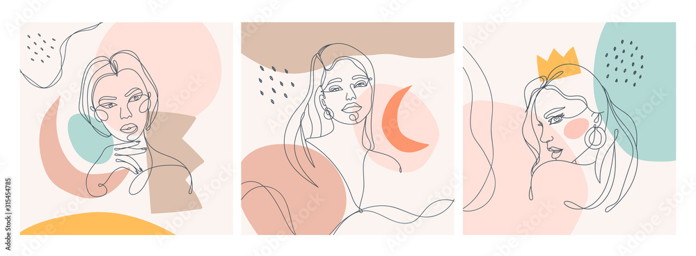 Fototapeta Set of three Modern abstract faces. Contemporary outline female silhouettes. Colored spots. Hand drawn outline trendy vector illustrations. Continuous line, minimalistic concept. Pastel colors