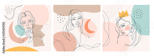 Obraz Set of three Modern abstract faces. Contemporary outline female silhouettes. Colored spots. Hand drawn outline trendy vector illustrations. Continuous line, minimalistic concept. Pastel colors - fototapety do salonu