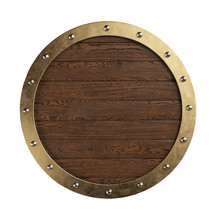 Medieval Knightly Round Shield With Metal Border. Clipping Path Included.