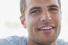 Close Up Of Handsome Mid Adult Man With Stubble