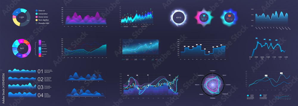 Fototapeta Color dashboard and infographics elements. UI, UX, KIT Admin panel interface with color graphics, charts, infographics and diagrams. Vector illustration.