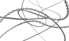 Shiny Chains Are Intertwined On A White Background. 3d Render.