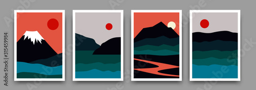 Fototapeta Landscape mountain background poster design. Vector geometric template with mountains, river sea in sunset backdrop. Illustration in trendy asian japanese style obraz