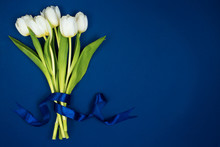 A Bouquet Of White Tulips Tied With A Ribbon. On A Blue Background. Postcard For Valentine's Day And March 8th
