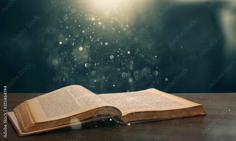 Fototapeta Christian Open Bible with light illustration