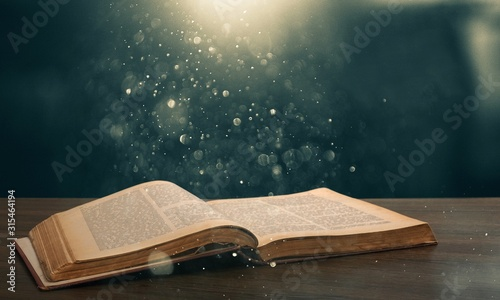 Obraz Christian Open Bible with light illustration - fototapety do salonu