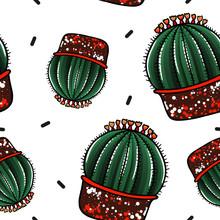 Round Cactus In Pot - Pattern ...