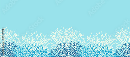 Fotografia, Obraz Underwater sea life ocean banner background with blue coral reef.