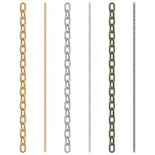 Set Of Chains On A White Background: Gold, Steel And Rusty Iron