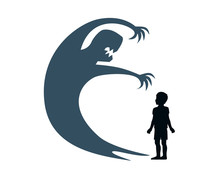 Silhouette Child Stands And The Shadow Of A Monster On The Wall