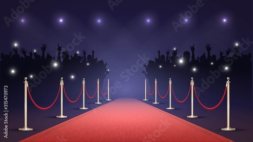 Fotografía Red carpet and crowd of fans, paparazzi photographing a star on the red carpet