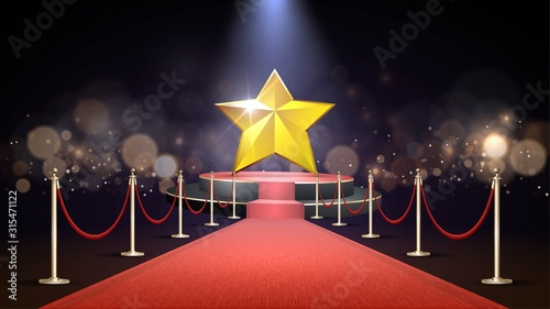 Red carpet and a round stage with big gold star, the path to glory Fototapete