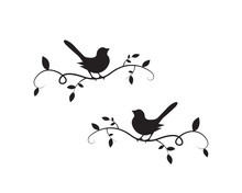 Birds On Branch Silhouette Vec...