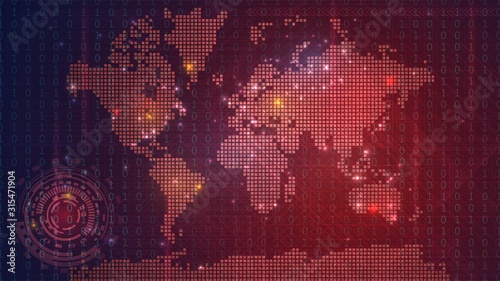 Fototapeta Dark red technological map of the world with luminous dots, global information n