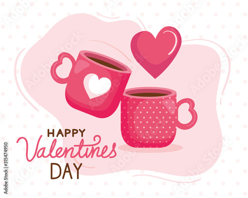 Obraz happy valentines day card with cups coffee vector illustration design - fototapety do salonu