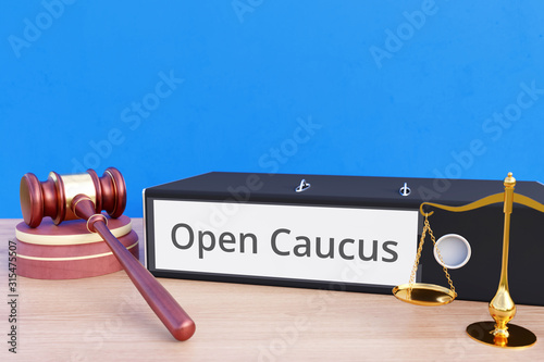 Obraz na plátne  Open Caucus – Folder with labeling, gavel and libra – law, judgement, lawyer