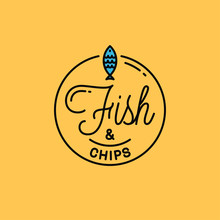 Fish And Chips Logo. Round Linear Logo Of Fish