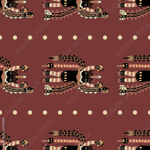 Photo Seamless ethnic pattern with ancient Peruvian motifs from Paracas textiles