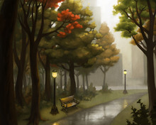 Rainy City Park Fall Landscape Painting- Illustration Of A Rainy Misty Day, Lamp Posts, Park Benches, Trees With Red And Yellow Leaves, City Buildings