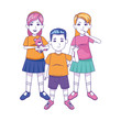 cartoon boy and girls standing icon, flat design