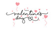 Happy Valentine's Day handwritten typography lettering with pink hearts isolated on white background banner