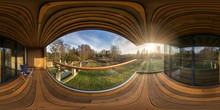 Full Seamless Hdri Panorama 360 Angle In Interior Of Empty Hall Veranda With Panoramic Windows In Wooden Vacation Homestead House In Equirectangular Spherical Projection.VR Content