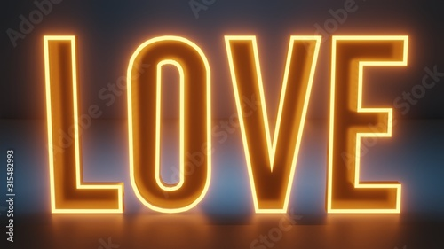 Amber colored neon sign with the text love on a blue background