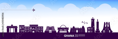 Photo Ghana travel destination grand vector illustration.