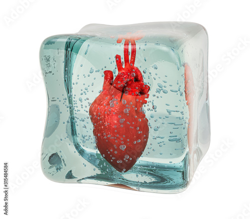 Obraz Human heart frozen in ice cube, 3D rendering - fototapety do salonu