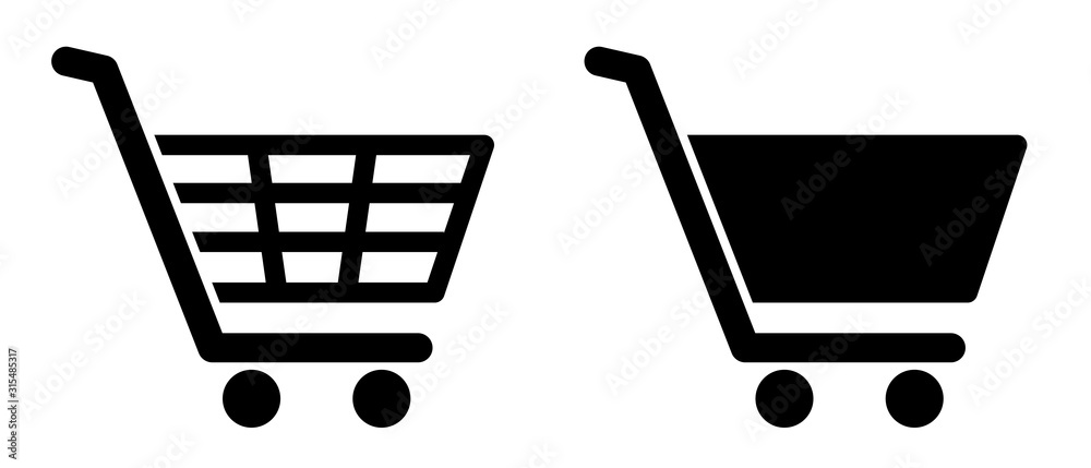 Fotografia Full and empty shopping cart symbol shop and sale icon