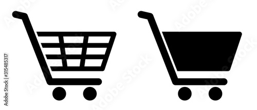 Fotografering Full and empty shopping cart symbol shop and sale icon