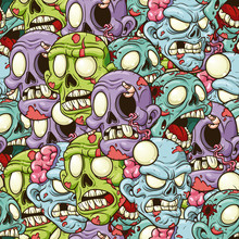 Cartoon Zombie Heads Seamless ...